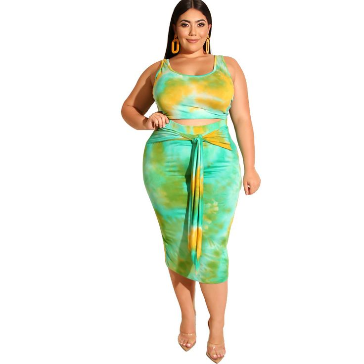 Large Size Womens Two Piece Sets Summer Tie Dyed Printed Tight Fitting Casual Sets Plus Size Ensemble Femme 2 Pieces JKP2057