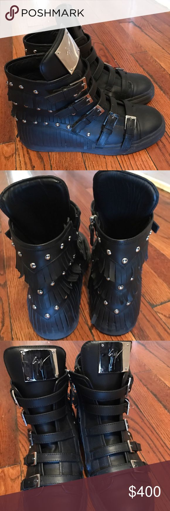 Black Fringe Giuseppe Zanotti Sneakers Worn twice. Too tight. Fringe leather and studded detail. Make any offers in the offers link. No trades on these. Thanks! Giuseppe Zanotti Shoes Sneakers