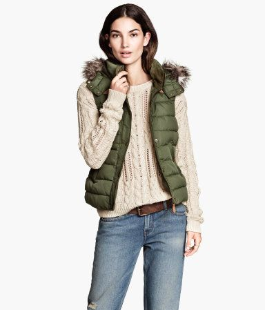 Army Green Puffer Vest with Faux Fur Lined Detachable Hood #fall #winter