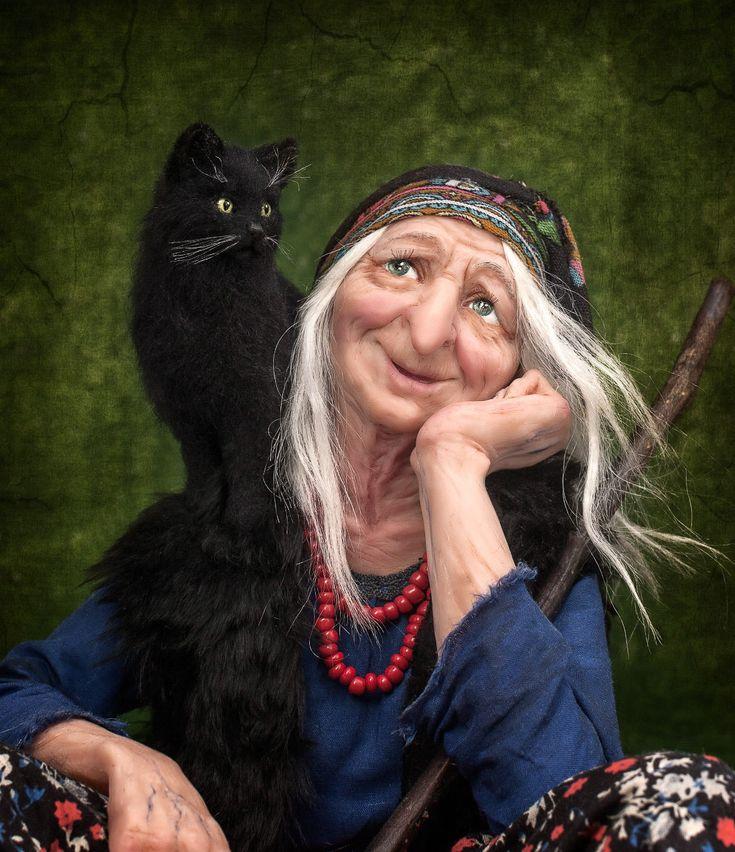 Прикольные картинки бабы яги с котом