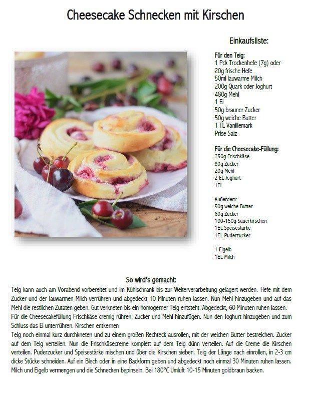 Cherry Pinwheels with Cheesecake - Kirsch Schnecken mit Cheesecake #summer #cherries #cake#rolls | Das Knusperstübchen