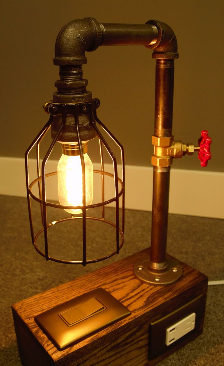 Industrial Lamp Edison Bulb Black Iron Pipe Phone