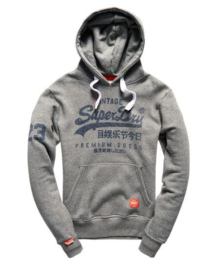 Mens - Premium Goods Hoodie in Grit Grey | Superdry