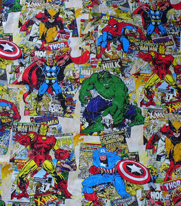 Marvel Comics Fabric /  Marvel Super Heroes Comic Book Covers Fabric / Vintage Style/ Yardage Available. $12.00, via Etsy.