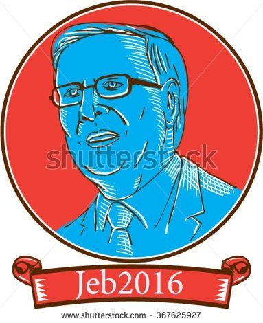 """Jan. 26, 2016: Drawing sketch style vector illustration showing John Ellis """"Jeb"""" Bush, an American businessman and politician and Republican 2016 presidential candidate set inside circle with words Jeb 2016. - stock vector #Bush2016 #sketch #illustration"""