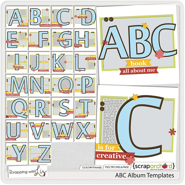 ABC Album Templates by Scrapping with Liz