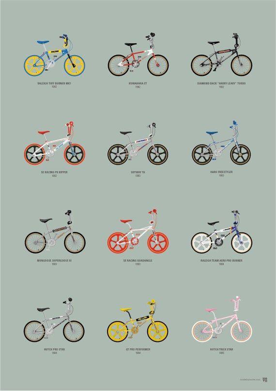Old School Bmx Illustrated Print A2 In 2020 Vintage Bmx Bikes Bmx Bmx Bikes
