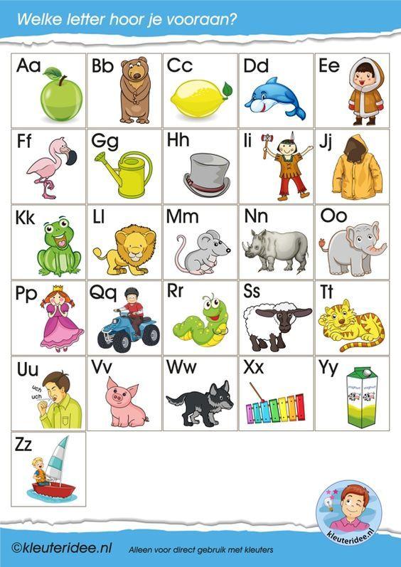 Letterkaartjes voor de taalhoek, letters herkennen, eerste letter, kleuteridee, free printable.:
