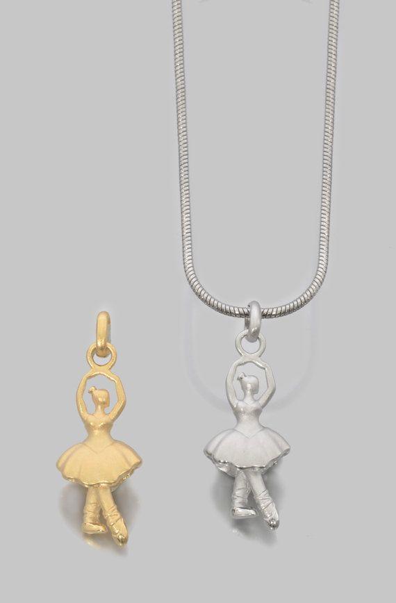 Ballet Dancer Pendant Gold Plated or White by JenniferLoveKids