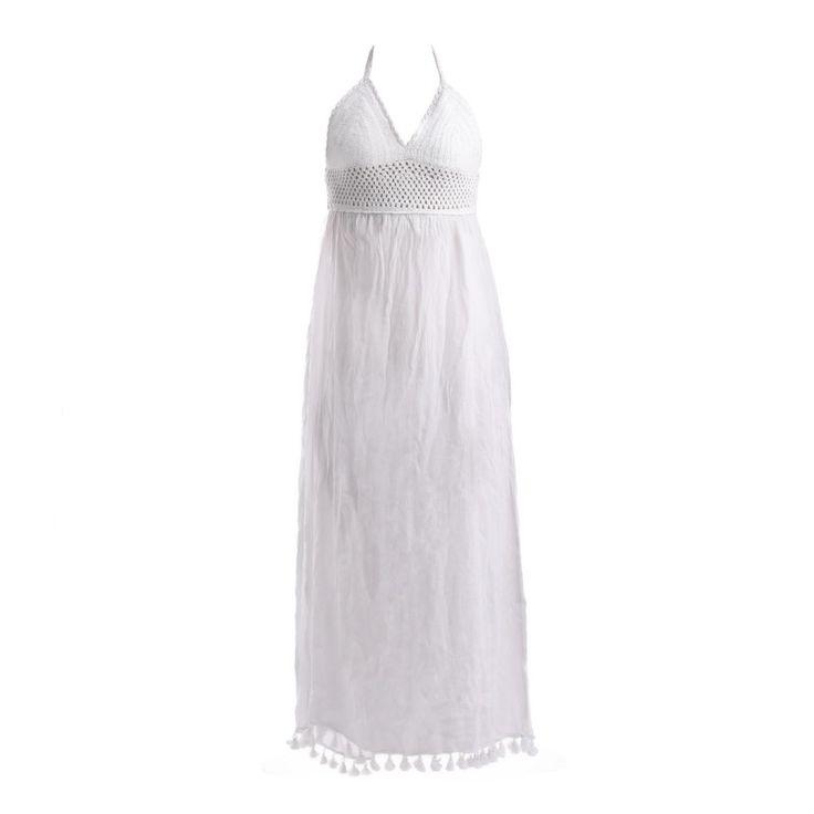 SLEEVELESS WHITE DRESS - Blouses-Shirts - Clothes