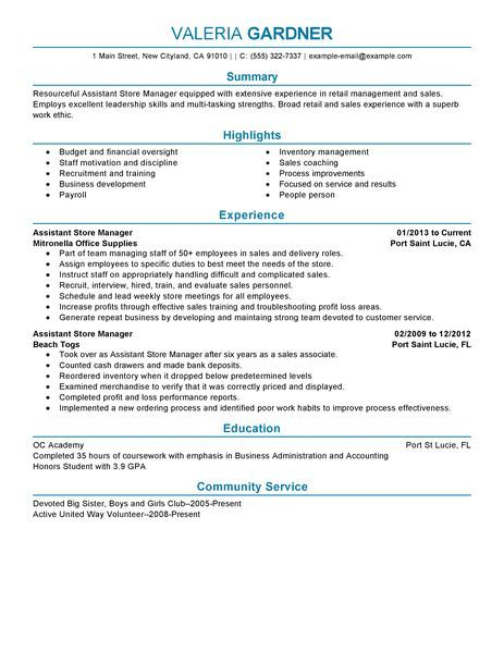 best resume format for retail store manager Animes Pinterest