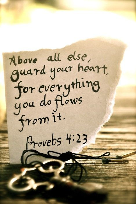 Above all else, guard your heart, for  everything you do flows from it