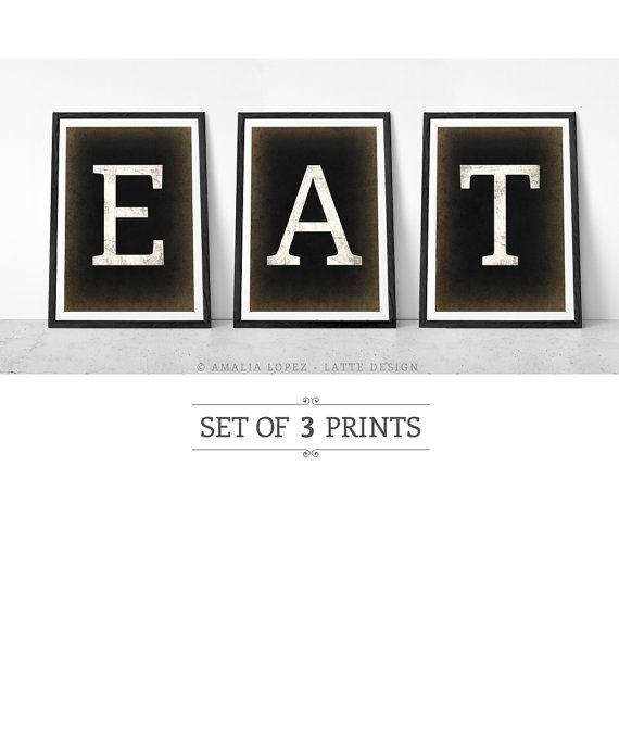 Set Of 3 PRINTS. Kitchen Print. Typographic Print. Set Of Prints. Kitchen  Decor. Pastel Colours. Pastel Colors. Eat Print