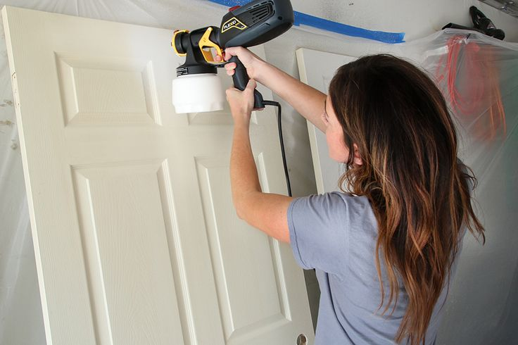 Update interior doors with fresh paint and new hardware. Chris Loves Julia weighs the benefits of using a paint sprayer for this task.