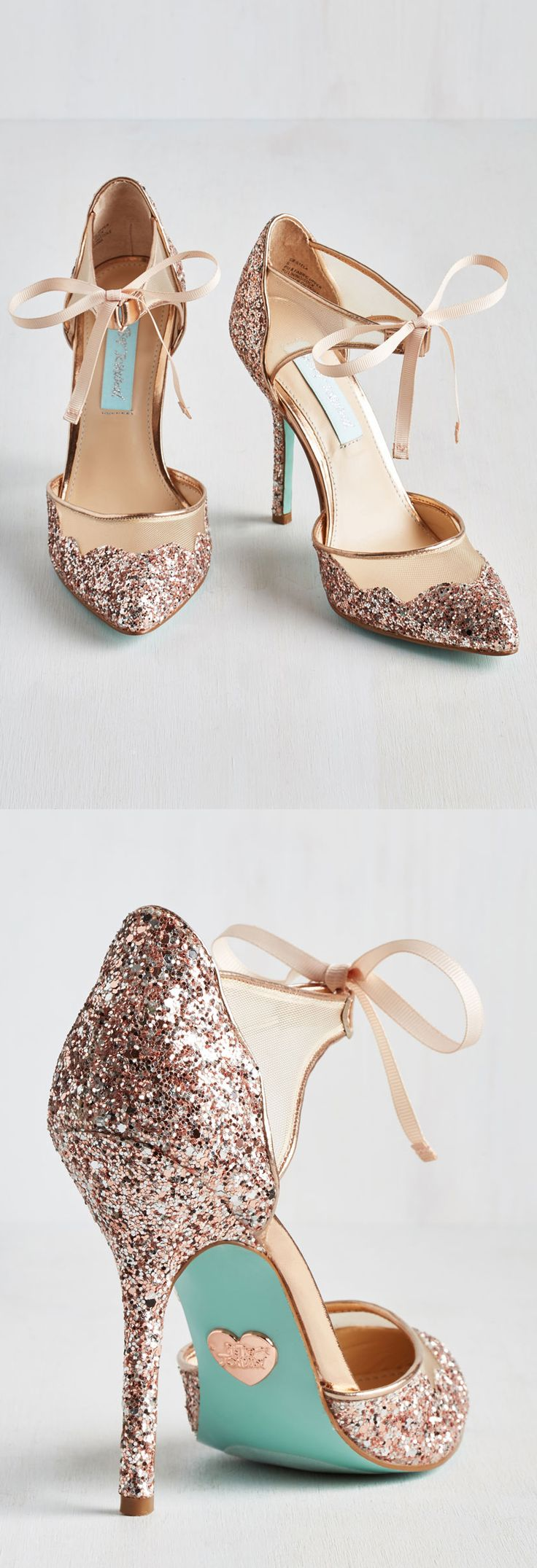 Betsey Johnson Rose Gold Glitter Heels