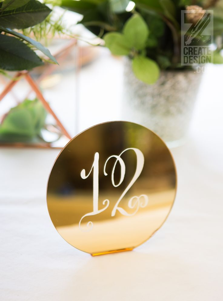 Gold Mirrored Table Numbers - The Perfect Accent for any Wedding Table // Artisan Table Numbers and Event Decor, Gifts & Accessories at www.ZCreateDesign.com or ZCreateDesign on Etsy