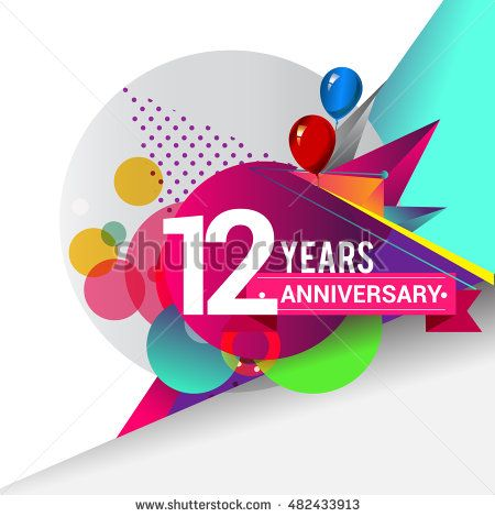 12 years Anniversary logo, Colorful geometric background vector design template…
