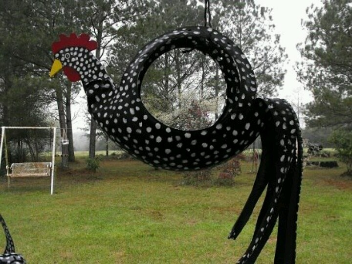 Chicken swing made from old tire. @Peg Hewitt Hewitt Hewitt Staton