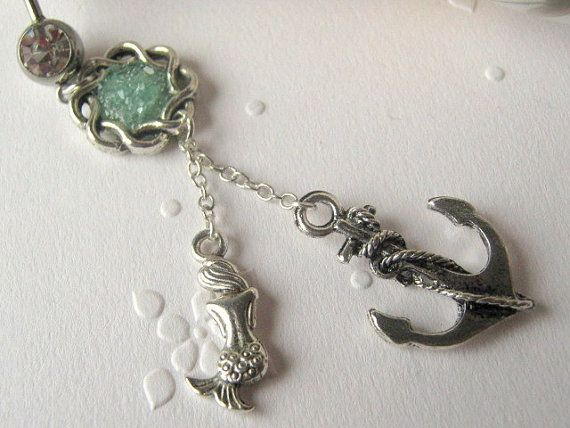 Choose Your Color, Mermaid and Anchor Belly Button Ring, Belly Button Jewelry, Navel Ring, Dangle Belly Ring on Etsy, $17.00