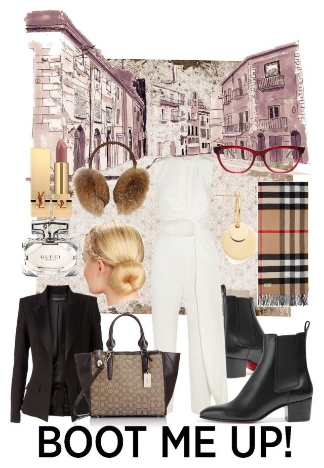 """""""City Intern"""" by adele-h-pocketbook ❤ liked on Polyvore featuring Amber Sceats, Christian Louboutin, Alexandre Vauthier, Roksanda, Gucci, Burberry, Coach, Bogner, Yves Saint Laurent and blazers"""