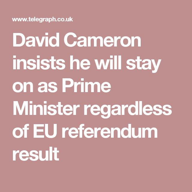 David Cameron insists he will stay on as Prime Minister regardless of EU referendum result