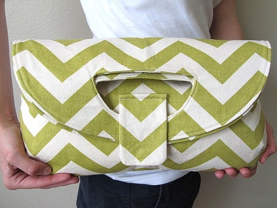 Green Zig Zag Foldover Clutch Tote Bag by CMCreoleCreations, $75.00