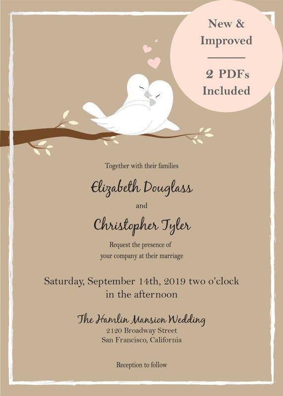 Love Birds Wedding Invitations Whiteturtle Love Doves Etsy Bird Wedding Invitations Wedding Doves Love Birds Wedding