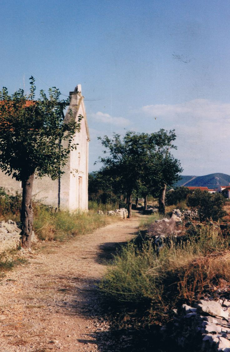 Old path and church on Krapanj circa 1994