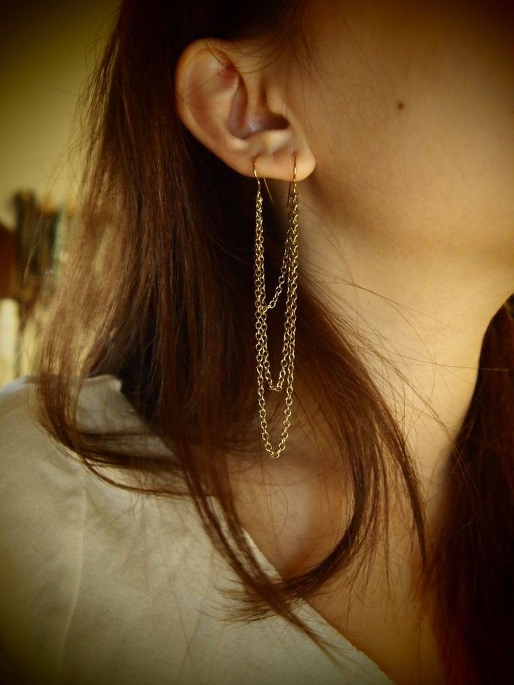 DIY double pierced earrings. (or triple earrings for my ears!! Saving here so i dont lose it)