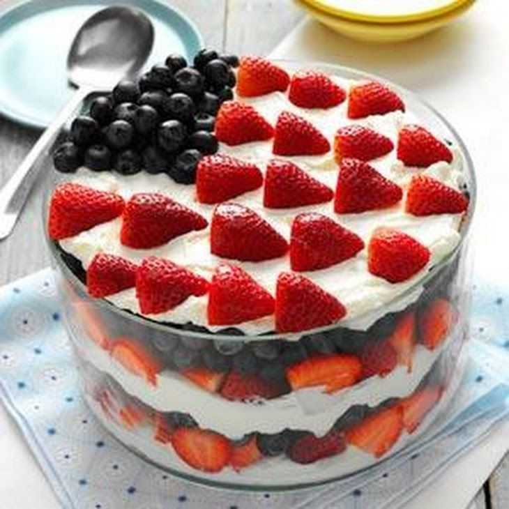 Red, White and Blue Dessert Recipe Desserts with cream cheese, sugar, vanilla extract, almond extract, heavy whipping cream, strawberries, blueberries