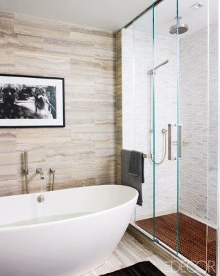 Mti Elise Freestanding Tub In Hilary Swanks Manhattan Master Bathroom Mark Zeff Designed The Master Baths Walls And Floors Elle Decor Celebrity Homes