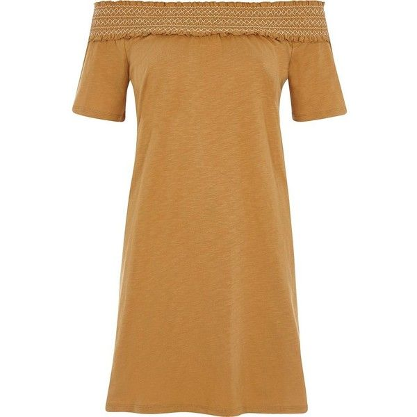 River Island Light brown shirred bardot top (£19) ❤ liked on Polyvore featuring tops, dresses, brown, sale, t-shirts / tanks, women, ruching tops, longline tops, short sleeve tops and tall tops