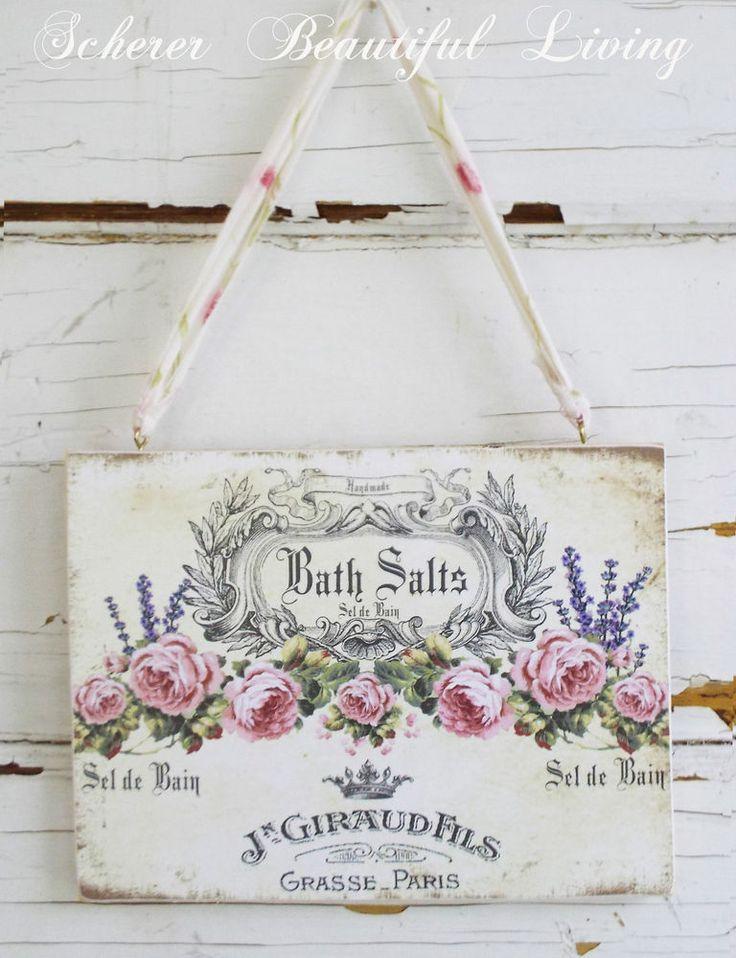 Shabby Sign Rose Chic Plaque Wall Decor Hanging Paris Bath Romantic French  Art