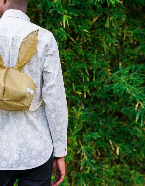 Peta Odini White on White Polka Dot Shirt Gold Mesh Peta Rabbit Backpack