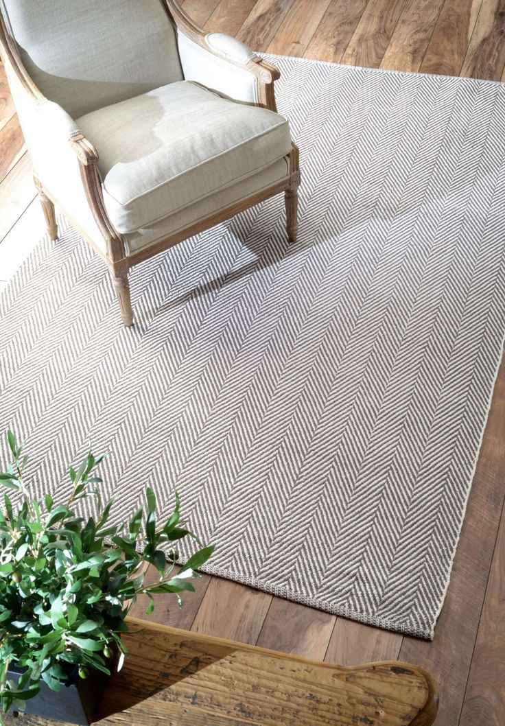 Rugs USA - Chalet CO4 Herringbone Cotton Flatwoven Rug - 100% cotton - 5'x'8' - $84; color: grey; Texture: Thin and movable, almost like a throw rug/blanket. Hard on the eyes.