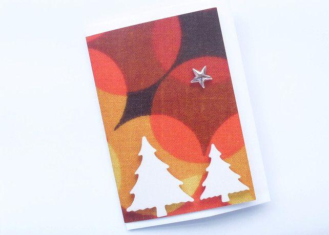 Retro Christmas trees greeting card £1.90
