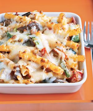 Cheesy Vegetable Pasta|Sneak in broiled vegetables to give baked ziti a healthy upgrade. See more can't-believe-they're-good-for-you recipes:
