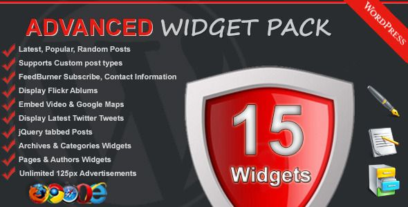 Advanced Widget Pack   http://codecanyon.net/item/advanced-widget-pack/2371100?ref=damiamio      Advanced Widget Pack – WordPress Plugin  Advanced Widget pack is a collected of 15 of the most popular and useful WordPress widgets.   Description  The Advanced Widget Pack WordPress plugin is a pack of popular high  quality widgets that allows you boost your blog SEO by displaying you  most popular, recent, random posts in your sidebars. Display your blog  contact information for clients to…