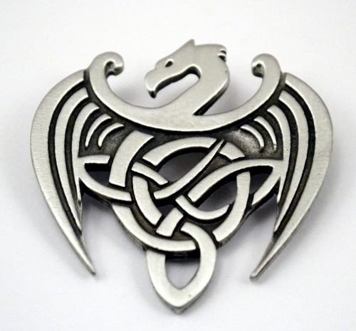 Stylized Celtic Dragon/Brigid's Knot brooch... I think this would make an AWESOME tattoo!!!