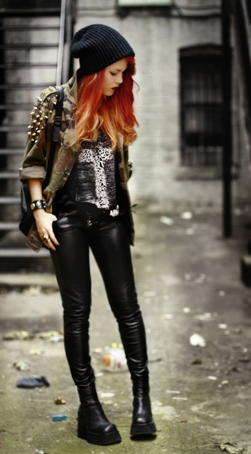 Rebel outfit , fashion look , black silk , awesome boots , beautiful jacket , cute hat , red head , stunning model , red lipstick , perfect