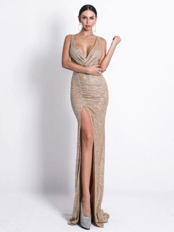 Sukienka Maxi Na Ramiaczkach Syrena Gleboki Dekolt V Na Zakladke Z Trenem Rozciecie Brokat Zlota Mrsgawron Boutique Dresses Glitter Dress Split Maxi Dress