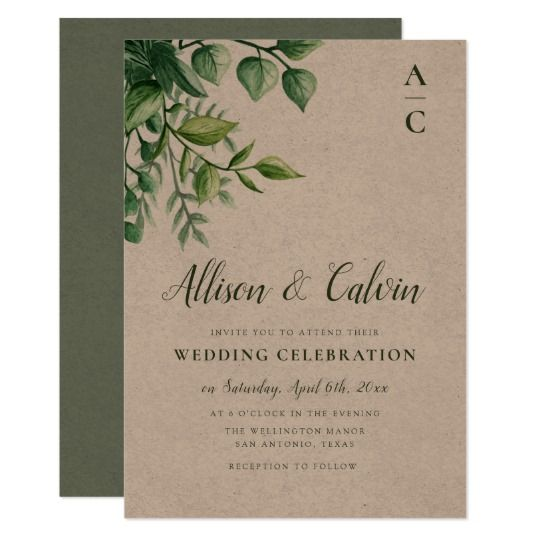 Summer Foliage Kraft Wedding Invitation Zazzle Co Nz In 2020 Kraft Wedding Invitations Simple Wedding Invitation Card Kraft Paper Wedding Invitation