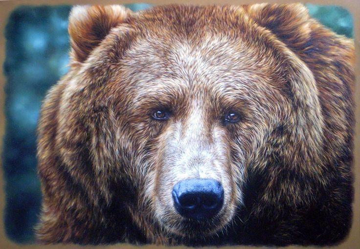 Живопись Медведи Бурые Медведи Взгляд Морда Sergei Kuzmin, Bear