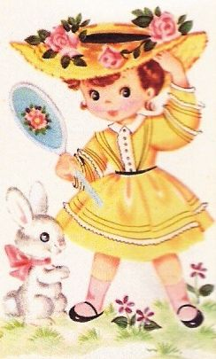 A Pretty Bonnet and Yellow dress child book illustration