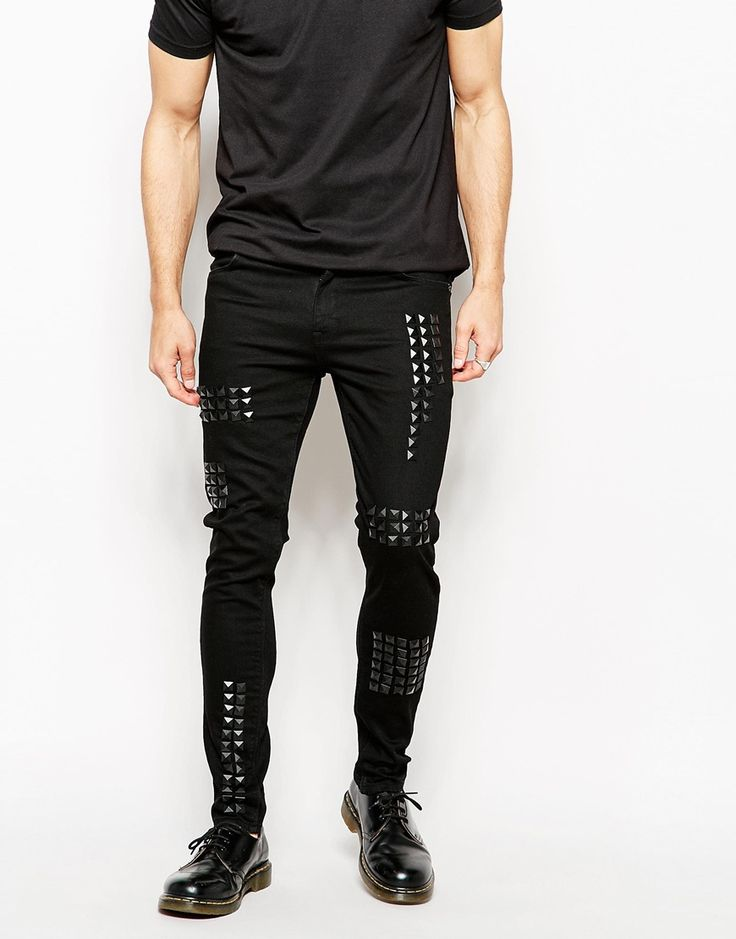 ASOS Super Skinny Jeans With Studded Panels - they should be mine!