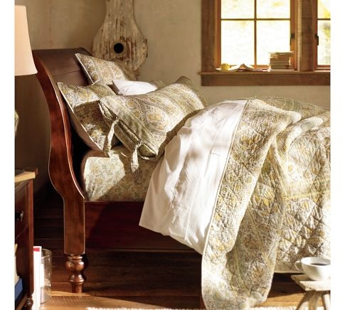 Ashby Sleigh Bed Rustic Mahogany Stain Pottery Barn