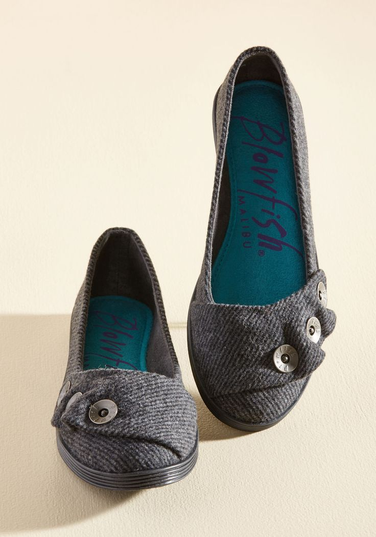 I'm Walking on It Flat. Each time your pals ask about progress on your goal to break the record for cutest shoes worn consecutively, you kick out these Blowfish flats and tell 'em it's a work in progress! #grey #modcloth