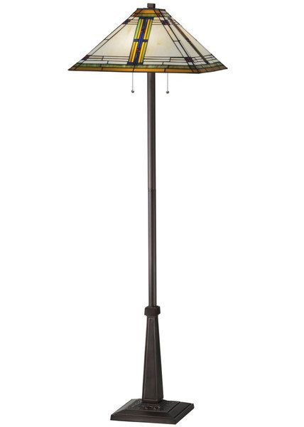 The Nevada Mission Tiffany floor lamp takes the classic stained glass construction process and combines it with Southwest colors and accents to create this stunning floor lamp.