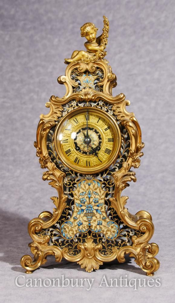 Antique French Empire Cloisonné Mantle Clock Rococo Ormolu Cherub