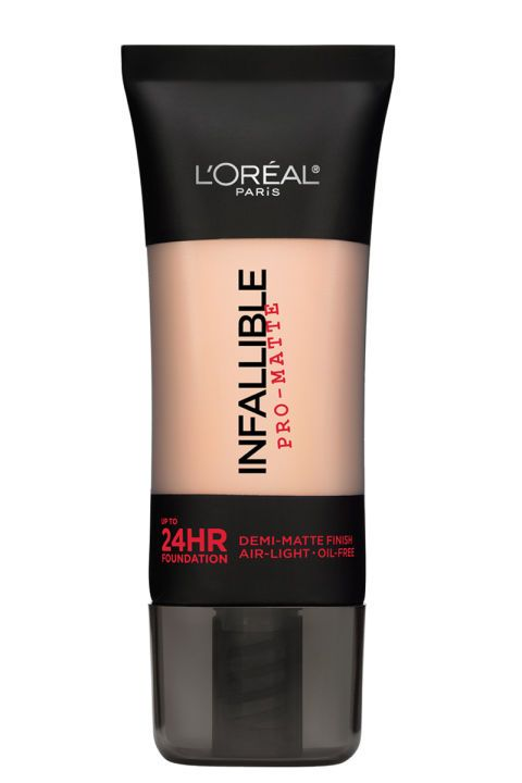 Nelson suggests this lightweight, creamy foundation from L'Oreal which offers full matte coverage and doesn't budge the entire day.  L'Oreal Infallible Pro-Matte 24 Hour Foundatino, $13; ulta.com